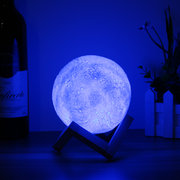 Christmas Decorations 13CM 3D Moon Lamp USB LED Remote 4 Colors Changing Night Light Table Desk Lamp