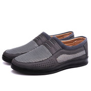 Men Mesh Fabric Splicing Breathable Flat Slip Ons Casual Shoes