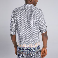 Mens Ethnic Style Printed Stand Collar Half Sleeve Loose Casual Henley shirts