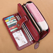 Women Bifold Oil Wax Genuine Leather Long Wallet 10 Card Slot Phone Purse Vintage Coin Bag