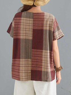 Contrast Color Plaid Short Sleeve Casual T-shirt
