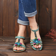 SOCOFY Genuine Leather Snakeskin Grain Splicing Vintage Floral Buckle Strap Casual Sandals