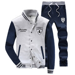 Mens Thick Sport Set Baseball Jacket Stand Collar Baseball Suit Casual Coat Sweatpants
