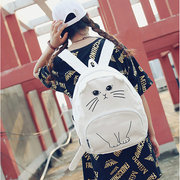 Women Girl Cartoon Cat Canvas Backpack Casual Patchwork School Bag