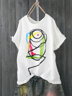 Cartoon Painting Print Short Sleeve Casual T-shirt