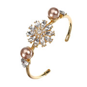 JASSY Trendy Bracelet Gold Plated Zirconia Flower Pearl Copper Bangle