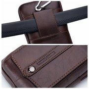 Retro Genuine Leather 6 Inch Phone Bag Crossbody Bag Waist Bag For Men