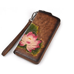 Vintage Genuine Leather Multi-function Phone Wallet Purse For Women