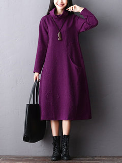 Solid Color Pockets Long Sleeve Turtleneck Vintage Dress