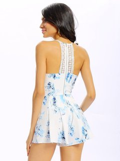 Women Sexy Floral Printing Lace Stitching Backless Halter Jumpsuit