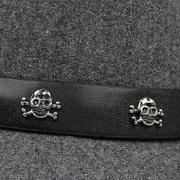Retro British Mens Sombrero Cráneo Crossbones de lana Fedoras Jazz Cap