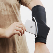 Mens Solid Color Flexible Sunscreen Running Riding Fitness Long Cuff Armguard Mobile Arm Pack