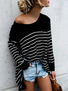 Casual Loose Women Striped O-neck Long Sleeve Blouses