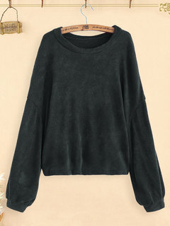 Knit Solid Color Long Sleeve Casual Pullover Sweater