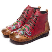 Women Folkways Handmade Genuine Leather Straw Flower Embroidery Zipper Boots