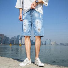 Season Men's Casual Shorts Men's Denim Shorts Men's Solid Color Five Pants Men's Loose Hole Shorts Pants