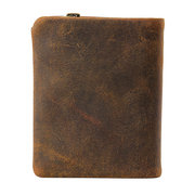 Genuine Leather Bifold Wallet Casual Vintage 10 Card Slots Removable Coin Bag Card Package For Men
