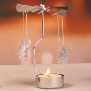 Hot Spinning Rotary Metal Carousel Tea Light Candle Holder Stand Light Christmas Party Decoration