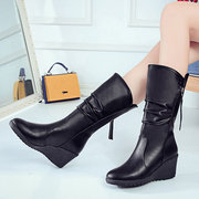 Wedges Pure Color Casual Warm Fur Knight Boots