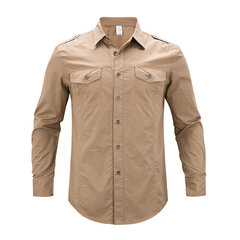Casual Double Chest Pockets Military Epaulet Design Cotton Shirt for Men