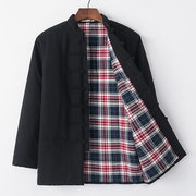 Mens Middle-aged Loose Coat National Style Vintage Plaid Button Casual Cotton Jacket