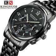 Business Mens Silver Watches Stainless Steel Strap Calendar Date Luminous Quartz Waterproof Watches