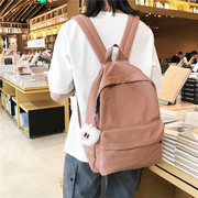 New Nylon Casual Shoulder Bag Female Large Capacity Solid Color Simple Wild Hair Ball Pendant Student Bag