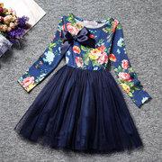 Flower Girls Polka Dot Imprimir vestido de manga comprida para 3-13Y
