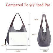 KVKY Women Canvas Three Layer Tote Bag Casual Vintage Handbag