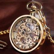 Retro Mechanical Hollow Skeleton Watch Vintage Chain Full Hunter Gold Glass Pocket Watch
