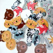 50pcs Mixed Color Wooden Buttons Cute Animal Pattern Sewing Buttons Decoration Crafts