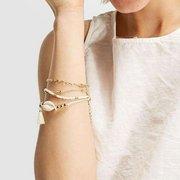 Bohemian Multilayer Gold Armband Set 5PCS Shell Conch Perlen Kette Charm Armband für Frauen
