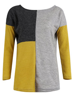 Casual Patchwork Loose Crew Neck Long Sleeve Sweater
