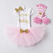 4Pcs It's My 1st First Birthday Girl Party Clothes Set For 0-18M