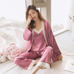 Sling Pajamas Female Ice Silk Simulation Silk Silk Three-piece Thin Section Sexy Home Service Suit Season