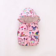 Flowers Animals Toddler Girls Hooded Waistcoat For 1Y-5Y