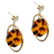 JASSY Elegante Leopard Print Pendente de acetato de celulose Antique Gold Geometric Women Dangle Earrings