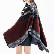 Women Vintage Ethnic Style Woolen Blending Scarf Shawl Casual Soft Warm Breathable Scarf