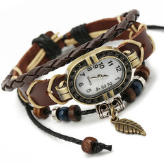 Punk Multilayer Bracelets Watches Vintage Leaf Beads Charm Pendant Mens Watches Gift for Women