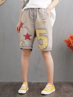 Patch Elastic Waist Pockets Casual Denim Shorts