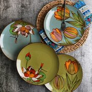 8 Inch European Style Hand Painted Colorful Dish Plate Ceramic Dessert Tray Unique Dinner Set Dish