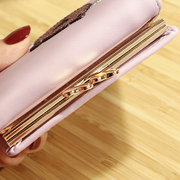 Women Faux Leather Trifold Cute Cat Pattern Short Wallet Coin Bag Card Holder