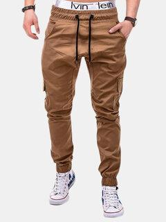 Mens Multi-bolso Calças de Carga Elástico Na Cintura Com Cordão Slim Fit Cor Sólida Calças Casuais