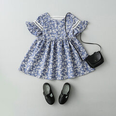 Flower Printed Toddlers Girls Kids Short Sleeve Summer Lace Princess Party Dresses
