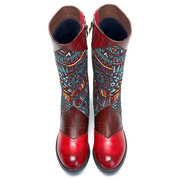 SOCOFY Bohemian Splicing Pattern Zipper Flat Leather Knee Boots