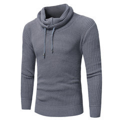 Mens Casual Cowl Neck Knit Breathable Drawstring Solid Color Warm Sweater