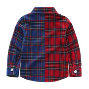 Plaid Patchwork Boys Long Sleeve Tops For 2Y-11Y