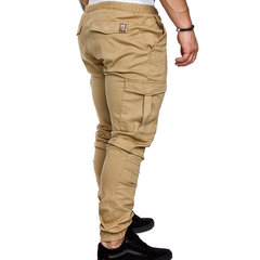 Mens Multi-pocket Cargo Pants Elastic Waist Slim Fit Solid Color Casual Trousers