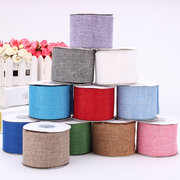 6CM 10M Faux Burlap Hessian Jute Bow Tape Arts Craft Gift Wrap Rustic Wired Ribbon Wedding Supply