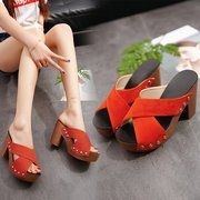 Thick Heel With Slippers Women's Sandals With Europe And The United States Season New Waterproof Platform Thick With High Heel Women's Sandals And Slippers